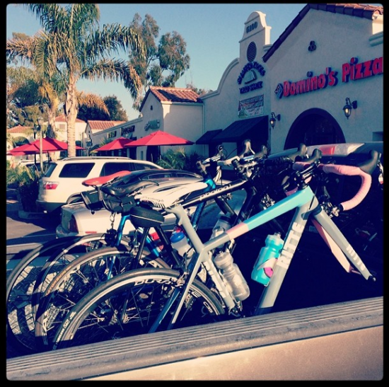 (left: Bikes travel with us in the back of a truck to a local taco joint)