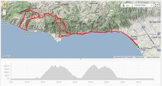 (above: 90 mile route including the Latigo Canyon and Yerba Buena climbs)